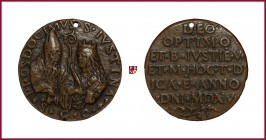 Padua, CONTEMPORARY CAST bronze medal, 1515, 44,26 gr.; 42 mm; opus: Padovan School, Footstone of The Santa Giustina Church in Padova, bust of Saint P...