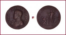 Parma, Ottavio Farnese (1547-1586), Duke of Parma and Piacenza, early aftercast bronze medal, (1547)13,25 gr., 30.5 mm, opus: G.F. Bonzagni, Proclamat...