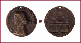 Rimini, Sigismondo Pandolfo Malatesta (1417-1468), lord of Rimini and Fano, CONTEMPORARY CAST bronze medal, 1450, 34,16 gr., 40.25 mm; opus: opus: M. ...