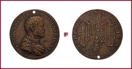 Tuscany, Cosimo I de Medici (1519-1574), cast bronze medal, 32,38 g Cu/Ae, 41 mm, 1561, opus: D. Poggini, The construction of The Palace of The Uffizi...