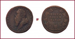 Venice, Pietro Aretino (1492-1556), renaissance writer and poet, STRUCK bronze medal, 1537, 31,22 g Cu/Ae, 34 mm, opus: L. Leoni, bust left/Latin insc...