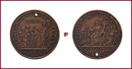 Venice, Pietro Lando (1538-1545),STRUCK bronze medal, 1539, 32,34 g Cu/Ae, 40 mm, opus: A. Spinelli, Doge's Election, Christ standing left, raising ha...