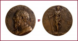 Venice, Antonio Bossi (16th Century), attorney in Venice, early aftercast bronze medal, 70 g Cu/Ae, 63 mm, bust left/angel standing right, Toderi-Vann...