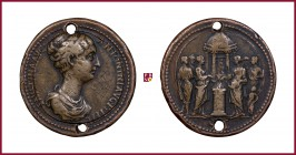 Faustina II (147-175), bronze medal struck (in a form of Roman Medallion) on a large and heavy BIMETALLIC (Cu/Ae) flan, 37,5 mm, 37,36 g, opus: G. da ...