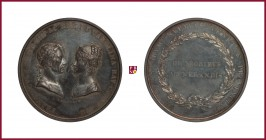 Austria, Franz II/I (1792-1806/35), silver medal, (1816), 39,56 g Ag, 48 mm, opus: L. Ferrari, Wedding with Caroline of Bavaria 1816, prize medal for ...