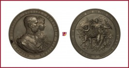 Austria, Franz Joseph (1848-1916), silver medal, 1881, 60,59 g Ag, 50 mm, opus: A. Scharff, Wedding of Rudolf and Stephanie of Belgium, busts right/Am...