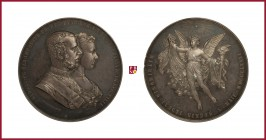 Austria, Franz Joseph (1848-1916), silver medal, 1881, 81,79 g Ag, 55 mm, opus: J. Tautenhayn, Wedding of Rudolf and Stephanie of Belgium, busts right...
