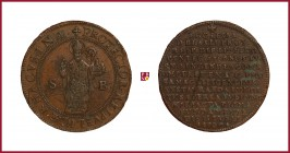 Croatia, Dubrovnik/Ragusa, copper medal, 1707, 20,23 Cu, 38 mm, The Restoration of The Saint Blasius Church, burned in 1706, Saint Blasius standing/La...