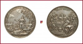 Denmark, Christian V (1670-1699), silver medal, 1687/1696, 179,53 g Ag, 74 mm, opus: A. Meybusch (of German or Dutch origin, active in Denmark, Sweden...