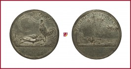 France, Louis XIV (1643-1715), tin medal, 1688, 55,99 g Sn, 60 mm, opus: J. Smeltzing, Diplomatic Immunity Struggle with Pope, ancient landscape with ...