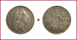 France, Louis XV (1715-1776), silver token, (1747), opus: François Marteau, 7,38 g Ag, 30 mm, bust right/Minerva seated left (Académie des Sciences), ...