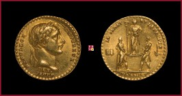 France, Napoleon (1804-1815), Coronation, GOLD medaillette, 1804, opus: D.V. Denon and R.V. Jeuffroy, 1,88 g Au, 12 mm, bust right/ Roman senator and ...