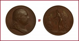 France, Louis XVIII (1814/15-1824), copper medal, 1814, 37,73 g cu, 41 mm, Arrival to Calais 1814, opus: B. Andrieu/N.G. Brenet, bust right/crowned Ga...