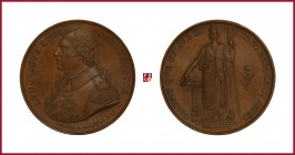 France, Louis XVIII (1814/15-1824), copper medal, 1815, 56,96 g Cu, 47 mm, opus: H.F. Brandt, The French Academy in Rome, bust left/Minerva standing r...