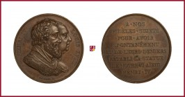 France, Louis XVIII (1814/15-1824), copper medal, (1817), 20,04 g Cu, 32 mm, opus: R. Gayrard, Restoration of Equestrian Statue of Henry IV, busts rig...