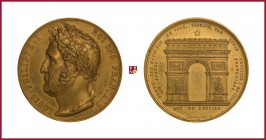 France Louis Philippe I (1830-1848), gilded bronze medal, 1836, 74,15 g Cu/Ae, 52 mm, opus: J.P. Montagny, Completion of the Arc de Triomphe (Arc de l...