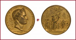 France, Napoleon I (1804-1815), gilded bronze medal, (1840; dated 1830), 74,79 g Cu/Ae, 52 mm, opus: J.P. Montagny, Transition of Napoleon's Body to P...