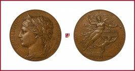 France, copper medal, 1878, 135,73 g Cu, 67 mm, opus: J.C. Chaplain, International Exhibition Paris 1878, laureate female head left/Victory flying rig...