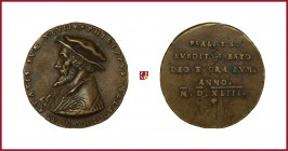 Germany, Cologne, Philip Melanchton (1497-1560), humanist, reformer, cast brass medal, (1543), 40,57 g Cu/Ae, 48 mm, opus: F. Hagenauer, 47th Annivers...