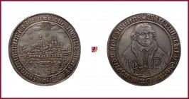 Germany, Mansfeld, Eisleben, ½ Schautaler, 1661, 14,44 g Ag, 46 mm, Centennial of the Naumburg Convention, city view with arms of Mansfeld below/ faci...