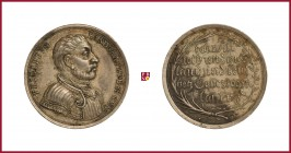 Germany, Hessen-Kassel, Friedrich I (1730-1751), silver medaillette commemorating Confession Jubilee, opus: P.P. Werner, landgrave Philip bust right/t...
