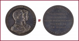 Germany, Prussia, Wilhelm II (1888-1918), silver medal, undated, 50,13 g Ag, 45 mm, opus: E. Weigand, Wedding Anniversary, busts right/inscription, La...