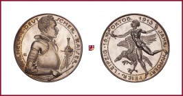 Germany, Prussia, Wilhelm II (1888-1918), silver medal, 1913, 24,85 g Ag, 40 mm, opus: K. Goetz, Leipzig Centenary 1813-1913, bust in armour right/Mal...