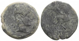 Iberia, Castulo, c. 150 BC. Æ (29mm, 11.95g, 9h). Diademed male head r. R/ Sphinx standing r. Cf. CNH p. 332, 9; SNG BM Spain 1232-43. Green patina, G...