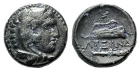 Kings of Macedon. Alexander III 'the Great' (336-323 BC). Æ (16mm, 5.60g, 3h). Uncertain mint in Macedon. Head of Herakles r., wearing lion skin. R/ B...