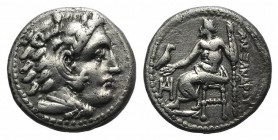 Kings of Macedon, Alexander III 'the Great' (336-323 BC). AR Drachm (16mm, 4.21g, 12h). Miletos, c. 325-3 BC. Head of Herakles r. wearing lion's skin....