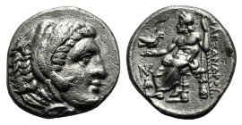 "Kings of Macedon, Alexander III ""the Great"" (336-323 BC). AR Drachm (16mm, 4.07g, 11h). Sardes, c. 324/3. Head of Herakles r., wearing lion skin. R/ Z..."