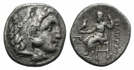 Kings of Macedon, Philip III Arrhidaios (323-317). AR Drachm (16mm, 3.89g, 11h). Kolophon, c. 322-319 BC. Head of Herakles r., wearing lion skin. R/ Z...