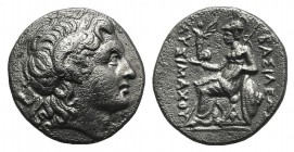 Kings of Thrace, Lysimachos (305-281 BC). AR Drachm (16mm, 4.06g, 12h). Ephesos, c. 294-287 BC. Diademed head of the deified Alexander r., with horn o...