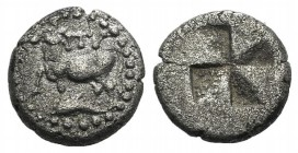 Thrace, Byzantion, 416-357 B.C. AR Diobol (9mm, 1.16g). Heifer standing l.; dolphin below. R/ Quadripartite incuse square with mill-sail pattern. SNG ...