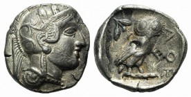 Attica, Athens, c. 454-404 BC. AR Tetradrachm (26mm, 17.06g, 9h). Helmeted head of Athena r. R/ Owl standing r., head facing; olive sprig behind; all ...