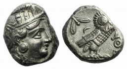 Attica, Athens, c. 353-294 BC. AR Tetradrachm (23mm, 17.69g, 9h). Helmeted head of Athena right / Owl standing right, head facing; olive sprig and cre...
