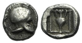 Asia Minor, Uncertain (perhaps Neandria in Troas?), c. 450 BC. AR Hemiobol (5mm, 0.30g, 9h). Corinthian helmet l. R/ Amphora within square incuse. Unp...