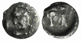 Asia Minor, Uncertain (Kelenderis?), c. 4th-3rd century BC. AR Hemiobol (7mm, 0.39g, 3h). Forepart of goat r., head l. R/ Head and neck of bull l. Unp...