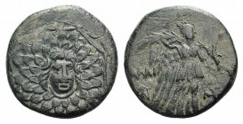 Pontos, Amisos, time of Mithradates VI, c. 85-65 BC. Æ (21mm, 6.13g, 1h). Aegis with Gorgoneion in centre. R/ Nike advancing r. holding wreath and pal...