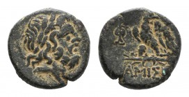 Pontos, Amisos, time of Mithradates VI, c. 85-65 BC. Æ (20mm, 8.24g, 12h). Laureate head of Zeus r. R/ Eagle standing l., head r., on thunderbolt; mon...