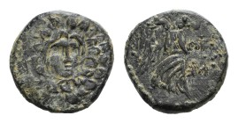Paphlagonia, Sinope, c. 85-65 BC. Æ (20mm, 7.21g, 12h). Aegis. R/ Nike advancing r., holding palm; retrograde ME to r. SNG BM Black Sea 1536. Green pa...