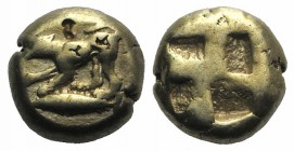 Mysia, Kyzikos, c. 500-450 BC. EL Hekte - Sixth Stater (9mm, 2.65g). Dog standing l. forepaw raised; tunny fish below. R/ Quadripartite incuse square....