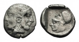 Mysia, Lampsakos, c. 500-450 BC. AR Drachm (17mm, 4.75g, 7h). Diademed, janiform female head. R/ Helmeted head of Athena l. within incuse square. SNG ...