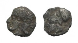 Mysia, Lampsakos, c. 500-450 BC. AR Obol (8mm, 0.50g, 6h). Female janiform head. R/ Helmeted head of Athena l. within incuse square. SNG BnF 1128-31. ...
