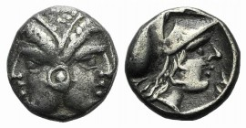 Mysia, Lampsakos, 4th-3rd centuries BC. AR Diobol (9mm, 1.30g, 3h). Female janiform head. R/ Head of Athena r., wearing crested Corinthian helmet. SNG...