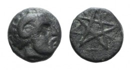 Mysia, Pitane, 4th-3rd centuries BC. Æ (6mm, 0.63g). Head of Zeus-Ammon r. R/ Pentagram. SNG BnF 2353-5. Green patina, near VF