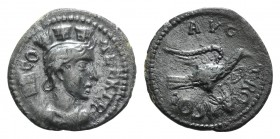 Troas, Alexandria. Pseudo-autonomous issue, c. mid 3rd century AD. Æ (24mm, 5.16g, 12h). Turreted and draped bust of Tyche r.; vexillum behind. R/ Eag...