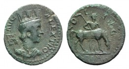 Troas, Alexandria. Pseudo-autonomous issue, c. mid 3rd century AD. Æ (23mm, 4.30g, 6h). Turreted and draped bust of Tyche r.; vexillum behind. R/ Hors...