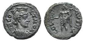 Troas, Alexandria. Pseudo-autonomous issue, c. mid 3rd century AD. Æ (22.5mm, 6.70g, 6h). COL TROA, Turreted and draped bust of Tyche r., with vexillu...