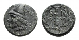 Troas, Birytis, c. 300 BC. Æ (17mm, 5.75g, 12h). Head of Kabeiros l., wearing pileos; two stars above. R/ Club within wreath. BMC 1; SNG Copenhagen 24...